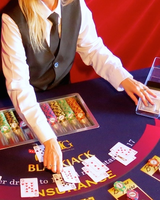 Croupier dealing Blackjack